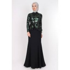 Tesettur Abiye Elbise Yelek Detay Siyah