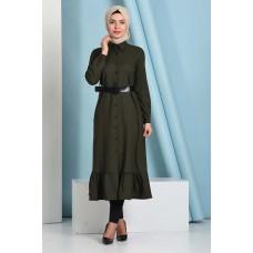 Mira Kumaş Boydan Pileli Elbise Haki