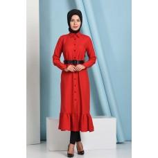 Mira Kumaş Boydan Pileli Elbise Kırmızı